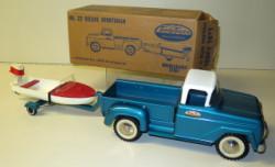 1960 Tonka 22 Deluxe Sportsman Pickup W Boat Motor Trailer Original Box
